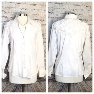 White cotton long sleeve misses shirt with cutouts